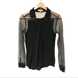Vera Wang Mesh Sleeves Button-Front Top